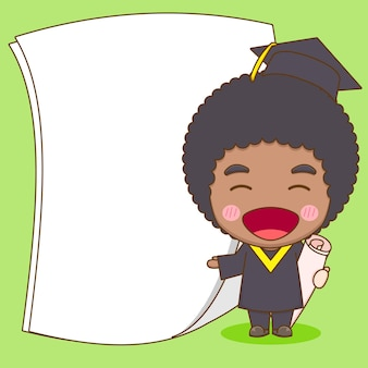 Cute chibi character student in graduation gown with empty paper