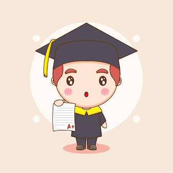 Cute chibi character student in graduation gown