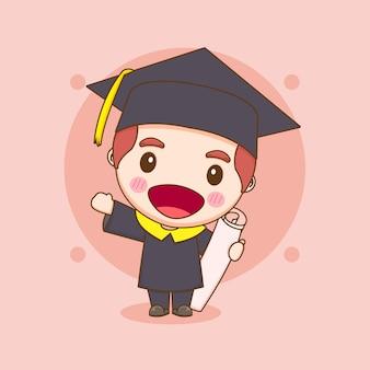 卒業式のガウンでかわいいちびキャラクターの学生