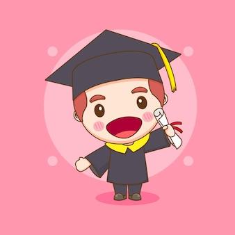 Симпатичная студентка персонажа чиби в выпускном платье