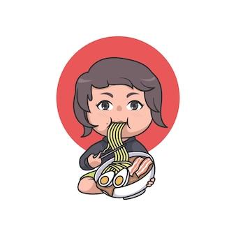 Cute chibi girl eating ramen illustration