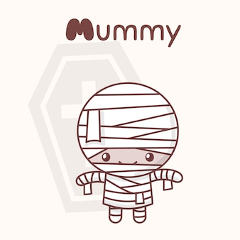 Cute chibi kawaii characters halloween set. merry mummy against back of coffin. flat cartoon style