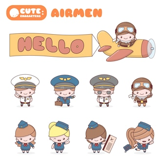 Cute chibi kawaii characters profession set