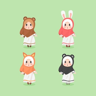 귀여운 꼬마 귀엽다 히잡 소녀 동물 귀