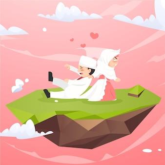 Cute chibi kawaii muslim couple hijab get married wedding character illustration
