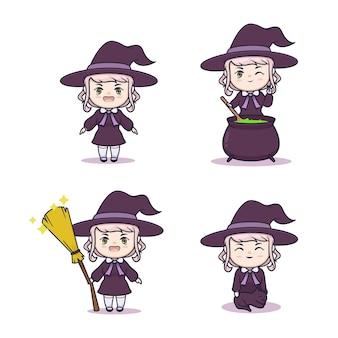 Cute chibi witch illustration