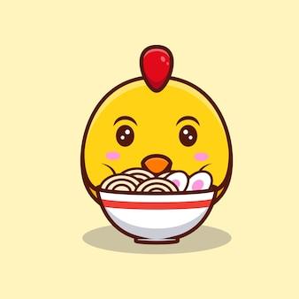 Милый цыпленок и лапша рамэн мультфильм значок иллюстрации