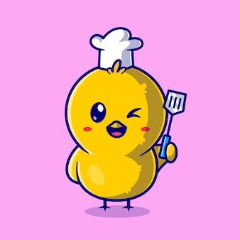 Cute chick chef holding spatula cartoon vector icon illustration. animal profession icon concept isolated premium vector. flat cartoon style