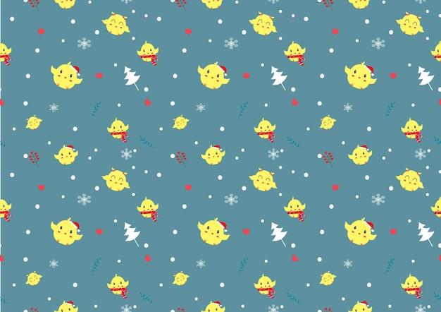 겨울 시즌 원활한 패턴 벡터에 귀여운 병아리.