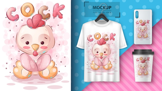 Cute chick poster and merchandising.