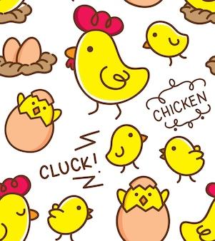 귀여운 닭고기와 달걀 원활한 패턴