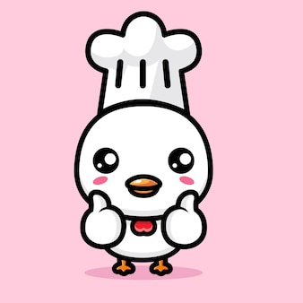 귀여운 치킨이 좋은 포즈로 요리사가되다