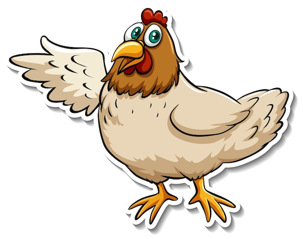 Un simpatico adesivo animale del fumetto di pollo