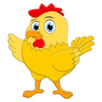 Cute chicken cartoon waving
