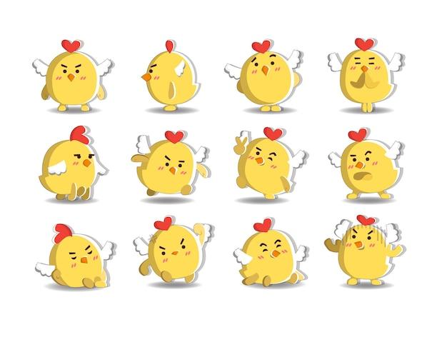 Cute chicken character with twelve alternative posess Premium Vector