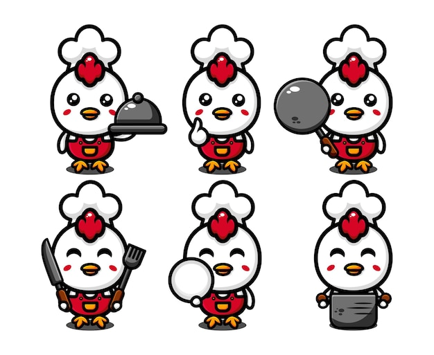 Cute chicken chef character design set with cooking equipment