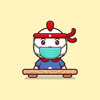 Милый куриный повар носить маску мультфильм значок иллюстрации