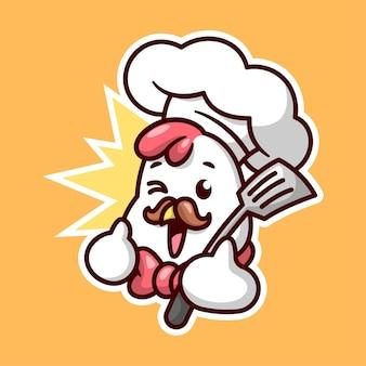 Милый куриный повар с коричневыми усами улыбается и приносит высококачественный дизайн маскота мультфильма