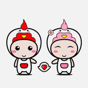愛のかわいい鶏カップルキャラクター
