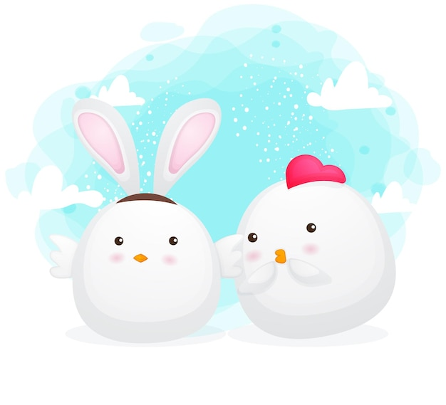Cute chicken couple with rabbit ears