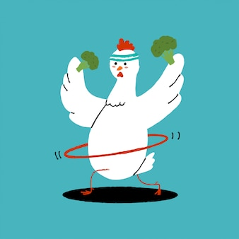 Cute chicken doing exercises with hula hoop and broccoli.   cartoon bird character isolated  . healthy food and fitness concept illustration.
