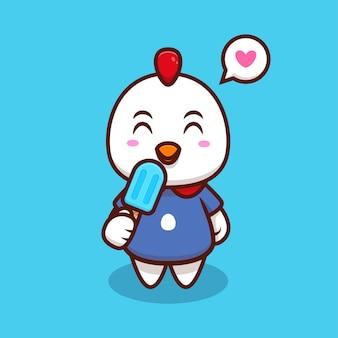 かわいい鶏を食べるアイスクリーム漫画アイコンイラスト