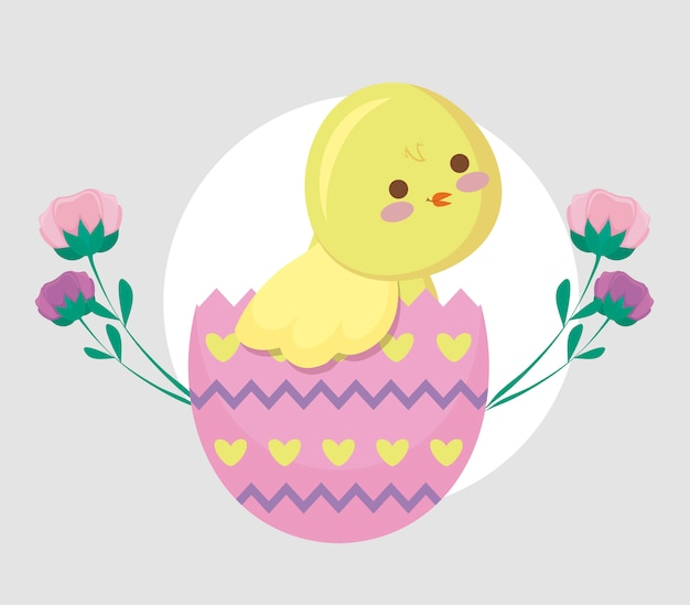 Cute chicken in egg broken and flowers