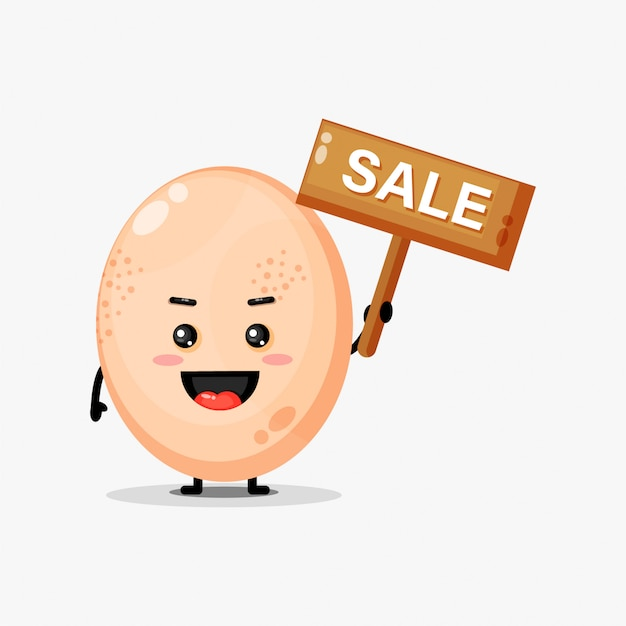 Cute chicken egg mascot with the sales sign