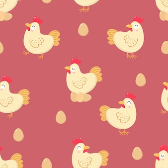 Cute chicken and eggs seamless pattern