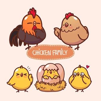 귀여운 닭 가족