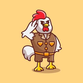 Милый цыпленок генерал позирует рукой салют