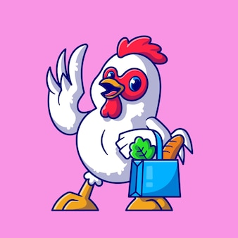 Cute chicken groceries shopping cartoon   icon illustration. animal food icon concept isolated  . flat cartoon style