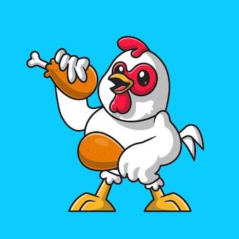 Милый цыпленок холдинг жареный цыпленок мультфильм вектор значок иллюстрации. концепция значок корм для животных, изолированные premium векторы. плоский мультяшном стиле
