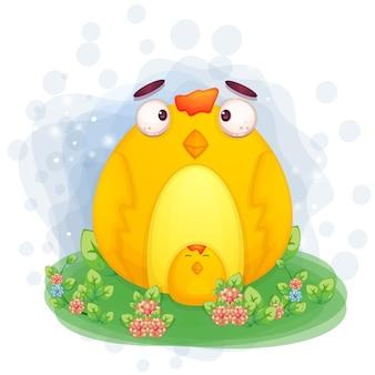귀여운 닭 그림은 잔디에 앉아