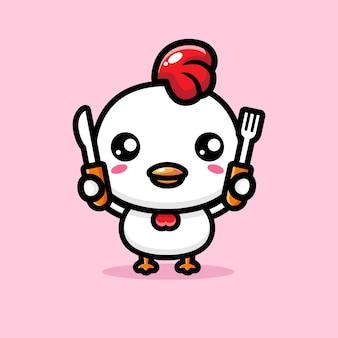 귀여운 닭이 먹을 준비