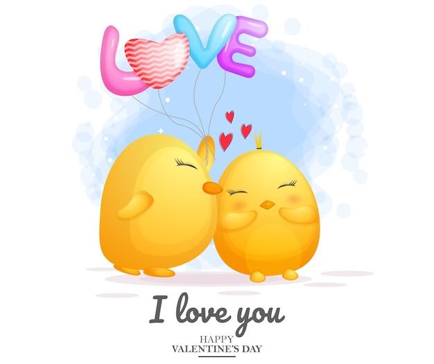 귀여운 치킨 키스와 발렌타인 데이를위한 사랑 풍선을 들고
