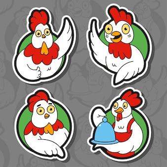 かわいい鶏のロゴ、バッジ、背景に分離されたラベルベクトル漫画イラスト。