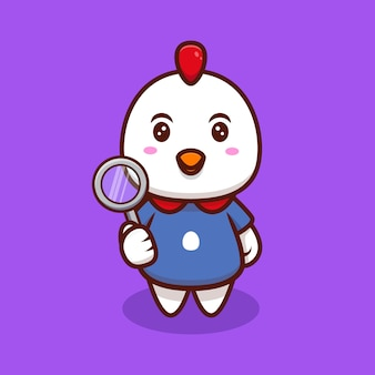 Cute chicken and magnifier cartoon icon illustration.