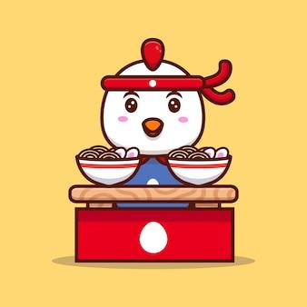 Cute chicken make ramen noodles cartoon icon illustration