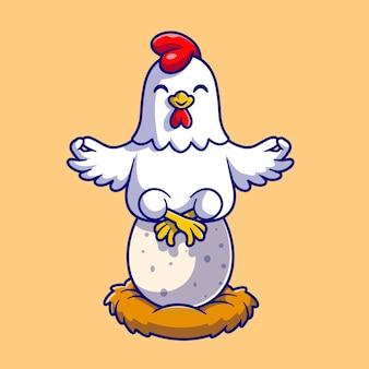 Милая курица медитация йога на яйцо мультфильм вектор значок иллюстрации. концепция животного природы значок изолированные premium векторы. плоский мультяшном стиле