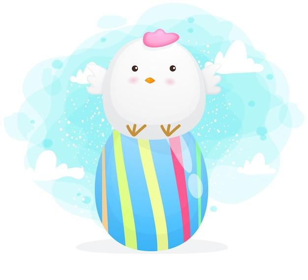 Cute chicken mom with decorative eggs