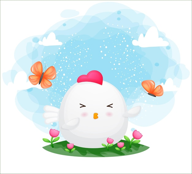 Cute chicken playing with butterfly