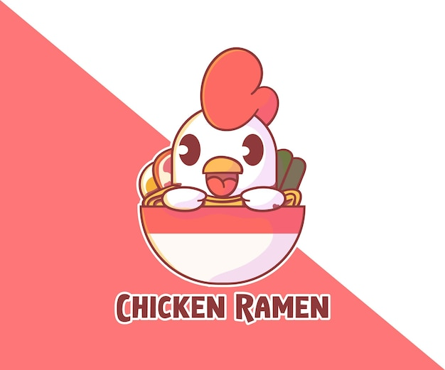 Cute chicken ramen mascot logo.