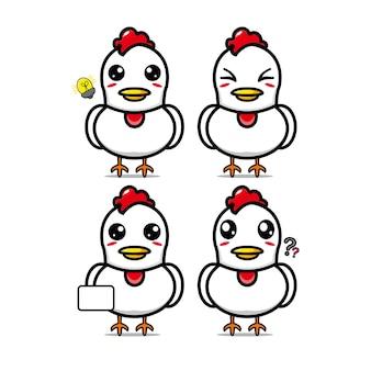 かわいいチキンセットコレクションベクトルイラストチキンマスコットキャラクターフラットスタイル漫画
