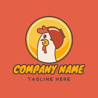 Симпатичная курица векторная иллюстрация с красной чашей на шаблоне логотипа эмблемы круга на красном фоне