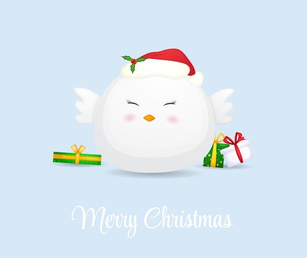 Милый цыпленок в новогодней шапке premium векторы