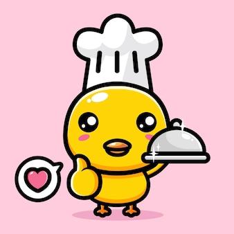 귀여운 병아리가 좋은 포즈로 요리사가