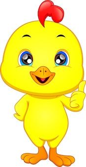 Милый цыпленок мультфильм палец вверх