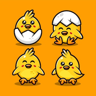 Cute chicks characters set