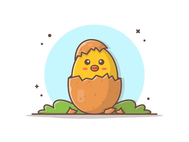 Симпатичные цыплята яйцо иконка иллюстрация
